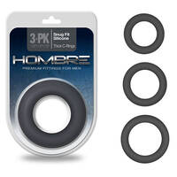 Hombre Snug Fit Thick C-Rings Charcoal Grey Cock Rings - Set of 3 Sizes