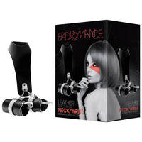 Bad Romance Leather Black & White Neck / Wrist Restraint With Velcro