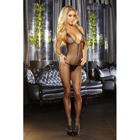 Deep V Crotchless Bodystocking LH-1002 Black OS