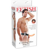 "8"" Vibrating Hollow Strap On Flesh"