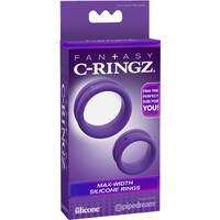 Fantasy C-ringz Max Width Silicone Rings Purple Cock Rings - Set of 2