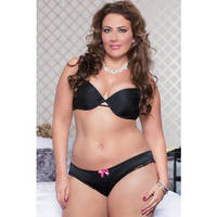 Abby Satin Stretch Cheeky 9750X-BLACK-1X/2X(H)